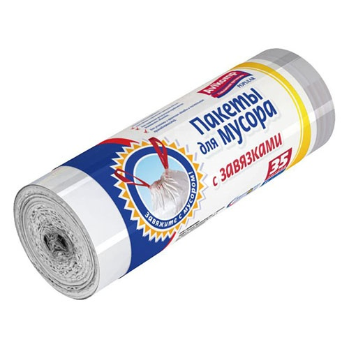 Мешки для мусора POPULAR Белые с завязками