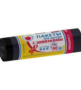 Мешки для мусора PRAKTISCH Черные с завязками 35 л 15 шт