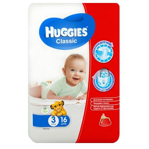 Подгузники Huggies Classic Small Pack 4-9 кг (3 размер) 16 шт