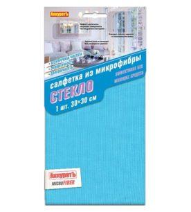 Салфетка из микрофибры АккуратЪ Для стекла 30х30 см 1 шт
