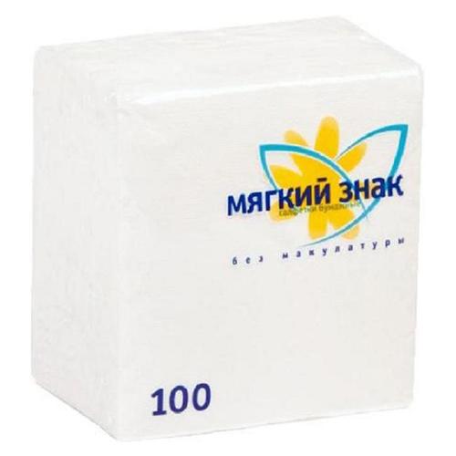 Салфетки Мягкий знак Белые 100 шт
