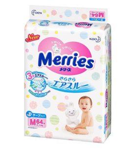 Подгузники Merries M 6-11 кг 64 шт