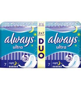 Прокладки Always Duo Ultra Night 14 шт