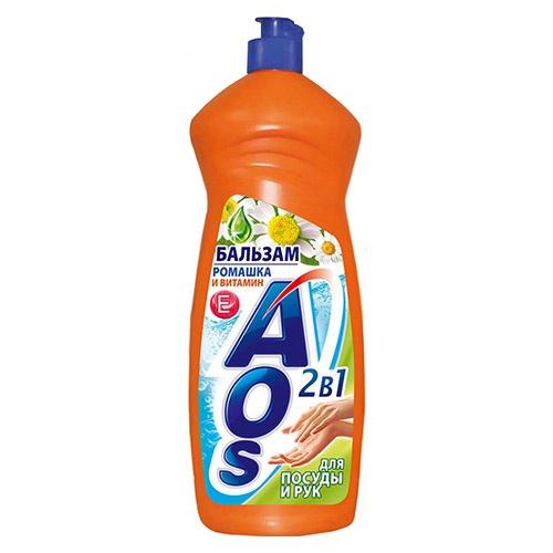Средство для мытья посуды AOS Бальзам 2 в 1 ромашка и витамин Е 100 мл