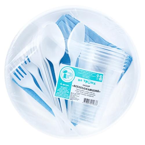 Одноразовая посуда На троих Всеобъемлющий 1 шт оптом