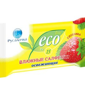 Влажные салфетки Русалочка Eco Line 15 шт оптом