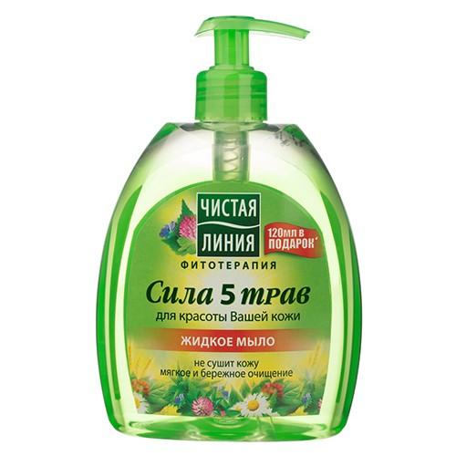 Жидкое-мыло  Чистая линия Сила 5 трав 520 мл оптом