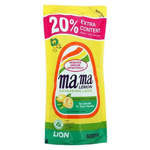 Средство для мытья посуды MAMA LEMON Natural Lemon (Сменная упаковка) 600 мл оптом