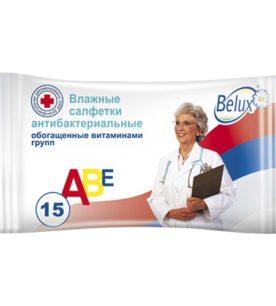 Влажные салфетки Belux Антибактериальные 15 шт оптом