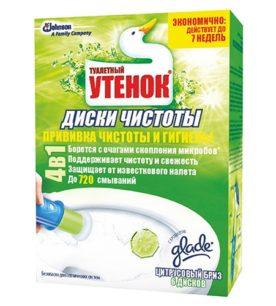 Диски чистоты для унитаза Туалетный Утёнок Цитрусовый бриз 6 шт оптом