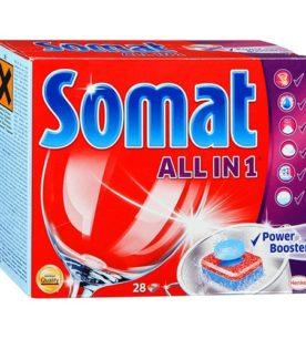 Таблетки для посудомоечных машин Somat All in 1 28 шт оптом