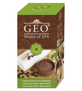 Женский подарочный набор GEO Скраб «Кофейный» 300 мл + соль для ванны «Бергамот» 100 г + соль для ванны «Эвкалипт» 100 г 1 шт оптом