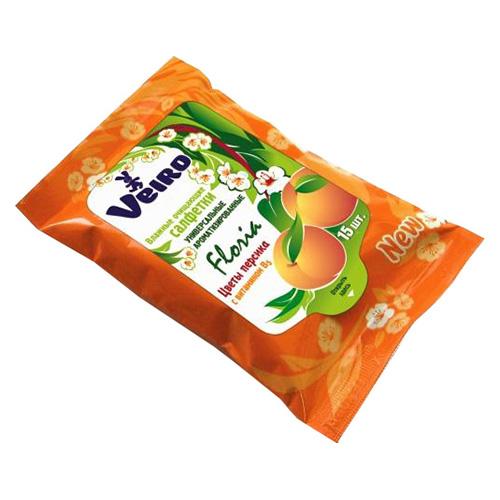 Влажные салфетки Veiro С ароматом цветов персика