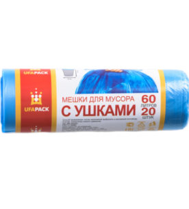 Пакеты для мусора с ушками 60л20шт голубые (арт МСУ -60)