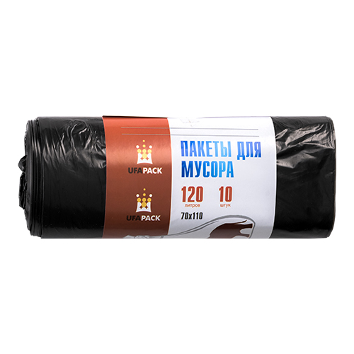Пакеты для мусора ПВД 120л 10шт черные (арт МВ 120-10ч)