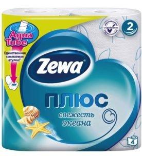 """Туалетная бумага Zewa """"Plus, 2-х слойная, Свежесть океана"""", 4 шт"""