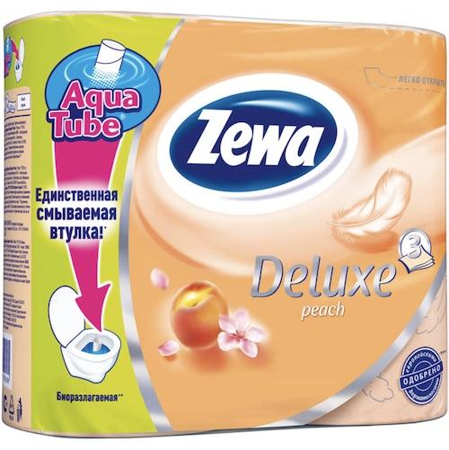 """Туалетная бумага Zewa """"Deluxe, 3-х слойная, Персик"""", 4 шт"""
