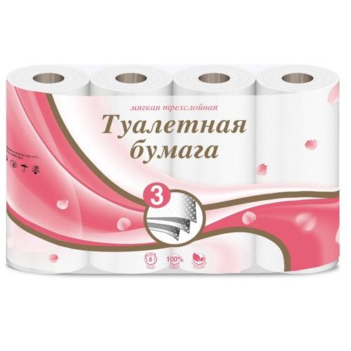 туалетная бумага мягкая трехслойная 8шт