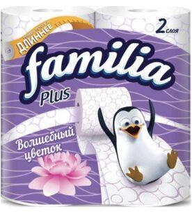 """Туалетная бумага Familia """"Plus, 2х-слойная, Волшебный цветок"""", 4 шт"""